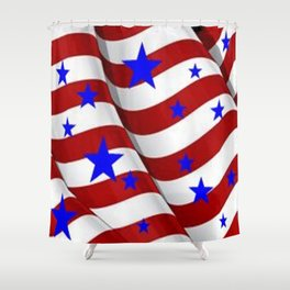 PATRIOTIC JULY 4TH BLUE STARS DECORATIVE ART Shower Curtain
