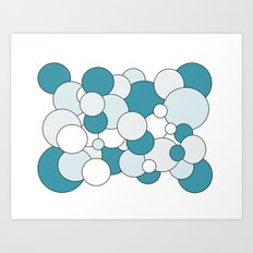Bubbles - blue, gray and white. Art Print