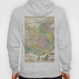 Vintage Map Print - 1740 map of China, published by Homann Heirs Hoody