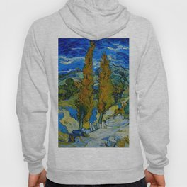 Vincent Van Gogh Beautiful Night Oil Painting Poplars at Saint-Rémy, October 1889 Landscape Hoody