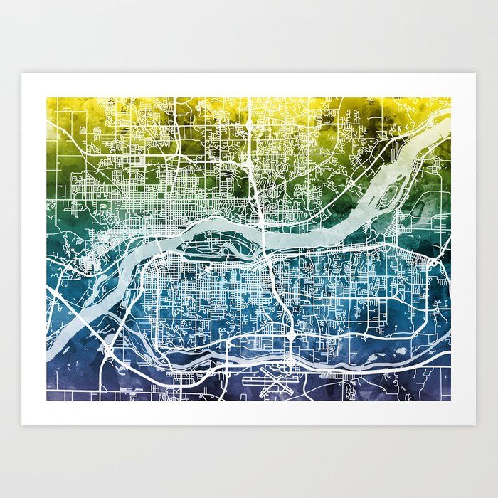 Quad Cities Street Map Art Print by artpause   Society6 on