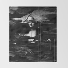 Mona Lisa Glitch Throw Blanket