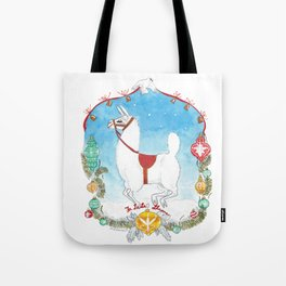 Deck the Halls with Llamas Tote Bag