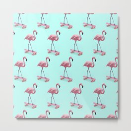 Skating Flamingo Metal Print