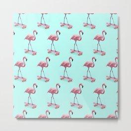 Skating Flamingo Metal Print