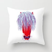 pony Throw Pillows featuring Pony by FTF by marge fellerer