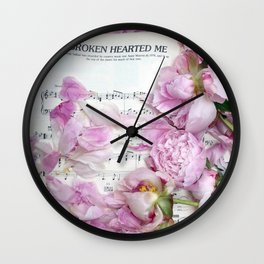 Shabby Chic Cottage Peonies On Sheet Music - Inspirational Peonies Print Wall Clock