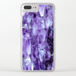 Amethyst Crystals Clear iPhone Case