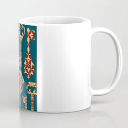 Yellow and Red Skeleton Key Pattern Coffee Mug