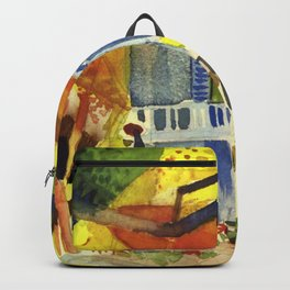 "August Macke ""Courtyard of the country house in St. Germain"" Backpack"