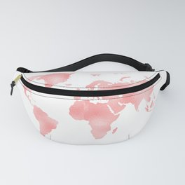 Pink Shiny Metal Foil Rose Gold World Map Fanny Pack
