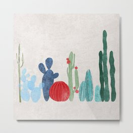 Cactus Garden on light background Metal Print