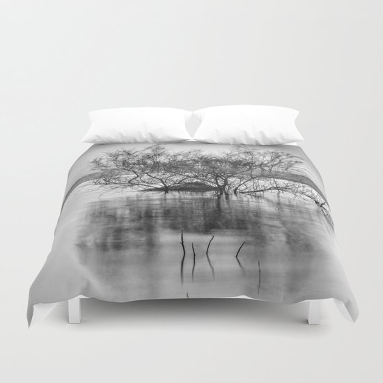 """Peace at the lake"". Dream sunset. Monochrome Duvet Cover"