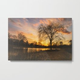 Cedar Beach Winter Sunset Metal Print