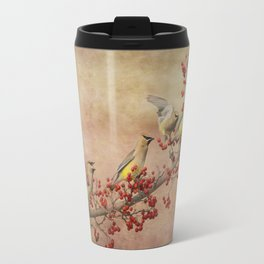 Cedar Waxwings Gathering Travel Mug