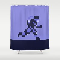 metal gear solid Shower Curtains featuring Snake on the Run - Metal Gear Solid by Studio Momo╰༼ ಠ益ಠ ༽