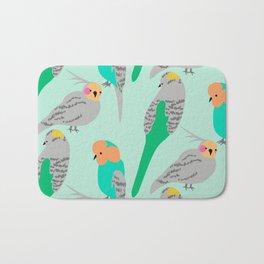 The Birds (green + orange) Bath Mat