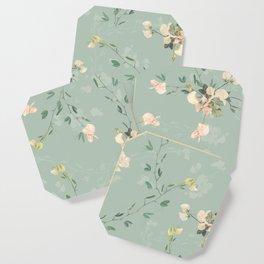 Sweet pea botanical pattern in green Coaster
