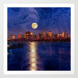 Moon light night, Boston MA Art Print