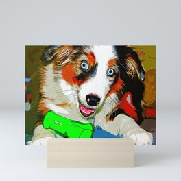 australian shepherd aussie dog puppy vector art Mini Art Print