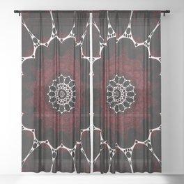 Deep Ruby Red Mandala Design Sheer Curtain