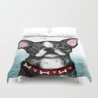 boston terrier Duvet Covers featuring Boston Terrier by Inked in Red
