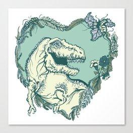 T-Rex Heart - Green & Blue Canvas Print