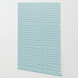 Chevron Wave Blue Petit Four and Glass Green Wallpaper