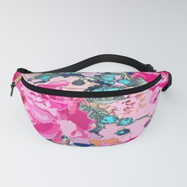 Pink floral work with some turquoise and yellow details Fanny Pack