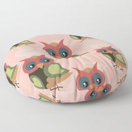 Cute owls on pink background Floor Pillow