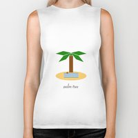 palm tree Biker Tanks featuring Palm Tree by Veronica Grande
