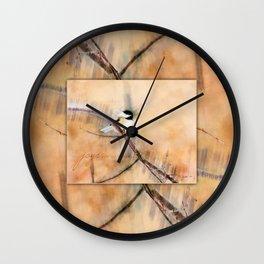 Joys Are My Wings Chickadee Art Wall Clock