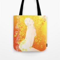 erotic Tote Bags featuring Floral Beauty  by Stevyn Llewellyn