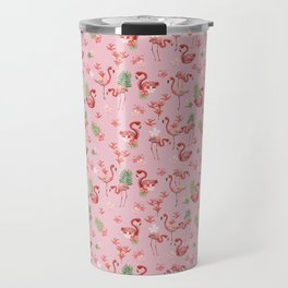 Pattern - watercolor tropical flamingo Travel Mug