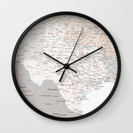 Detailed map of Texas Wall Clock