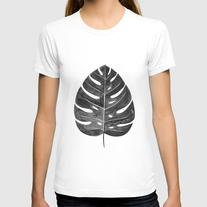 Monstera Leaf | Black and White T-shirt