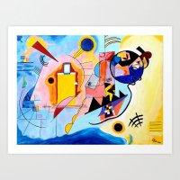 kandinsky Art Prints featuring Yellow Red Blue - Tribute to Kandinsky by ArtvonDanielle