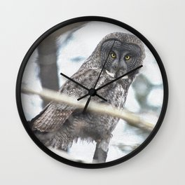 Let Us Prey - Great Grey Owl & Mouse Wall Clock