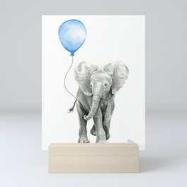 Baby Animal Elephant Watercolor Blue Balloon Baby Boy Nursery Room Decor Mini Art Print
