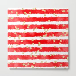 Modern red watercolor stripes gold confetti pattern Metal Print