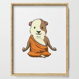 Budda Guinea Pig Funny Cavy Meditation Yoga Position Serving Tray
