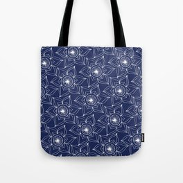 Navy blue white hand drawn floral mandala Tote Bag