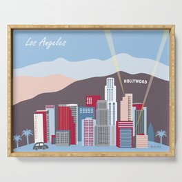 Los Angeles, California - Skyline Illustration by Loose Petals Serving Tray