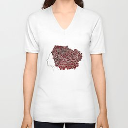 Amanda with curly red hair Unisex V-Neck