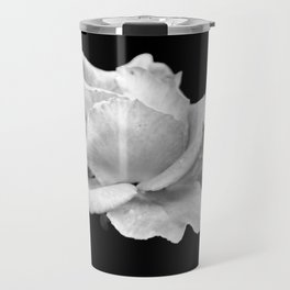 White Rose On Black Travel Mug