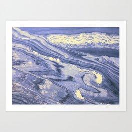 Lavender Marble With Cream Swirls Art Print