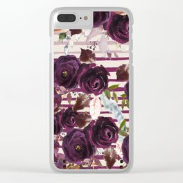 Watercolor ivory purple burgundy brown floral stripes Clear iPhone Case