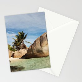 Tropical island La Digue, Seychelles   Bounty white beach travel photography Stationery Cards