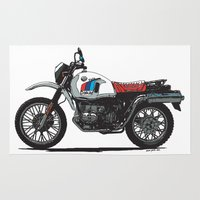 bmw Area & Throw Rugs featuring BMW R80GS PD by Ernie Young