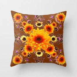 COFFEE BROWN GOLDEN SUNFLOWER MODERN ART DESIGN Throw Pillow
